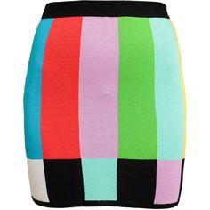 JEREMY SCOTT Stretch Knit Miniskirt ($390) ❤ liked on Polyvore featuring skirts, mini skirts, bottoms, jeremy scott, multi color skirt, elastic waist mini skirt, colorful skirts and mini skirt