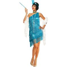Turquoise Dazzling Fringe Flapper Costume ($62) ❤ liked on Polyvore featuring costumes, blue, blue halloween costume, white costume, flapper costumes, feather costume and seamless slip
