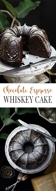 Dark Chocolate Espresso Whiskey Cake with powdered sugar | Schokoladen Espresso Whiskey Kuchen mit Puderzucker