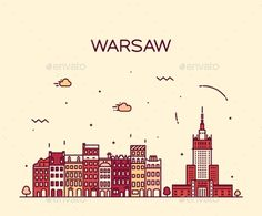 Warsaw Skyline Silhouette Illustration Linear by gropgrop Warsaw skyline detailed silhouette Trendy vector illustration linear style City Sketch, City Icon, Skyline Silhouette, Pencil Art Drawings, Small Art, String Art, Travel Posters, Line Art, Tattoo
