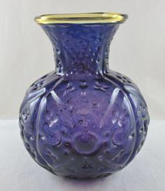 "Vintage BLENKO Art Glass Hand Blown 9.5"" Vase-HANK ADAMS C1994-VIOLET & TOPAZ"