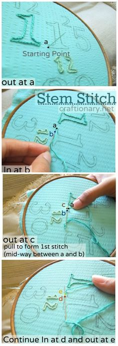 Easy Embroidery- Stem stitch tutorial, guess what these numbers mean! #embroidery #stem_stitch