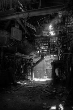 Pixie looked up at the maze of decaying pipes, girders, and pulleys. The smaller pipes might be salvageable without any equipment — just pull and jerk them off. The team would need to seal the building first though; that'd be loud and the area was...