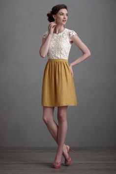 mustard yellow skirt with lacy top. Ruffled® | See ads - BHLDN Yarrow-in-Flower Dress, Size 2 -