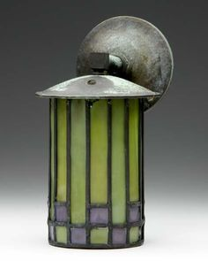 ROYCROFT Wall sconce designed by Dard Hunter with cylindrical shade of leaded glass in bright green and purple, compl. on Sep 2007 Black Wall Sconce, Modern Wall Sconces, Stained Glass Lamps, Leaded Glass, Prairie Style Architecture, Roycroft, Tiffany, Wall Candle Holders, Art And Craft Design