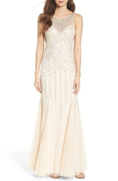 Free shipping and returns on Sean Collection Embellished Mesh Mermaid Gown at Nordstrom.com. A dazzling array of sequins and beadwork illuminates this curve-celebrating evening gown from its illusion-yoke bodice through its voluminous, godet-inset skirt. A completely open latticework back makes for a dramatic exit.