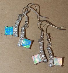1 PAIR fire opal Cz earrings gemstone silver jewelry chic cocktail drop/dangle