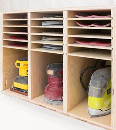 sander and sandpaper storage from The Handyman's Daughter #WoodworkingPlans #WoodworkingBench #WoodworkingTools