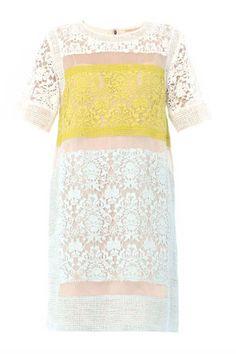 Rebecca Taylor Colour-Block Lace Dress, $495; matchesfashion.com   - ELLE.com
