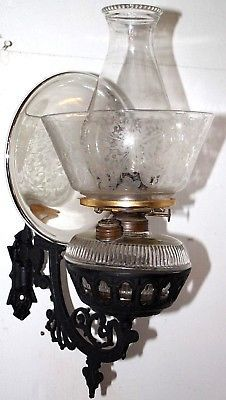Antique 1880 039 S Victorian Iron Wall Mounted Oil Lamp Sconce W Merc Reflector Oil Lamps Lamps Living Room Sconce Lamp