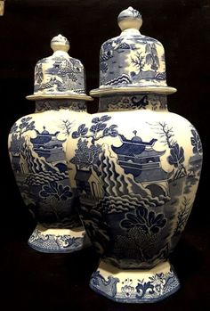 """#Masons~ #Ironstone~#England~#Blue #Willow~#Antique~Hall #Vases~12~1/4""""H  #Seraphimslair See #Etsy #eBay #Twitter #Facebook & #Instagram for #antique, #vintage & #modern #art #glass, #ceramics, #collectibles & #gifts! https://www.ebay.co.uk/usr/seraphimslair2 https://twitter.com/Seraphimslair https://www.instagram.com/seraphimslair5stars/ https://www.etsy.com/uk/shop/seraphimslair https://www.facebook.com/seraphimslair/ #USA #UK #CHINA #EUROPE #STYLE #STYLISH #POTTERYBARN #XMAS #ASIA…"""