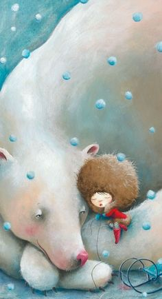 Bear and Me. Hugging a polar bear, illustration children's book