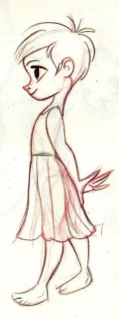 little girl in pink dress in garden drawing - Google Search