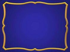 Blue gold frame ppt backgrounds