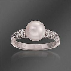 Ross-Simons - Mikimoto 8-8.5mm Akoya Pearl Ring With Diamonds In 18kt White Gold. Size 7 - #786403 $2300