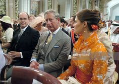 Sweden's Crown Princess Victoria sits next to Prince Charles of Britan and Crown Prince Albert of Monaco during the wedding ceremony between Spain's Crown Prince Felipe de Bourbon and Letizia Ortiz  at the Almudena cathedral May 22, 2004 in Madrid.  (Photo by Alberto Estevez/Pool/Getty Images)
