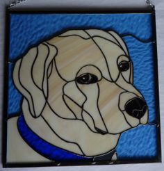 Stained Glass Panel  Yellow Labrador Retriever by WildwindsGlass, $130.00