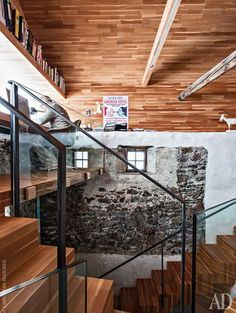 Striking transformation of 14th century mountain chalet in Italy. Home office with a view