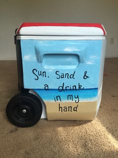 Beach painted cooler Fraternity Coolers, Frat Coolers, Sorority Canvas, Sorority Paddles, Sorority Recruitment, Beach Fun, Beach Cooler, 21st Birthday Paddle, Delta Gamma