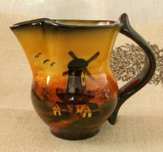 Yellow & Brown German Pitcher Creamer Windmill Scene #Collectible $14.99 Ebay