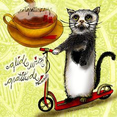 "It's catGRATURDAY! ""Glide with gratitude"" or catitude or whatever. What my Coffee says to me March 19 - drink YOUR life in - glide through your Satruday in style. (What my Coffee says to me is a daily, illustrated series created by Jennifer R. Cook for #mentalhealth) Glide over and Go Fund Me: www.gofundme.com/k84nhxaj #coffee #cats #caturday #art #illustration #creativity #glide #ride #gratitude #catitude #coffeelovers #coffetime #love"
