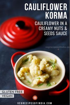 Looking for a great cauliflower recipe? Check out this recipe for cauliflower korma or cauliflower in a creamy nuts and seeds sauce. This recipe is a light and creamy gravy that is perfect for rice, pooris, chapatis, or dosa. Try this recipe this week, and feel free to spice it up a bit with more red or green chilies. #vegan #glutenfree #curry #SouthIndianfood #dinner #healthy South Indian Vegetarian Recipes, Indian Veg Recipes, Tasty Vegetarian Recipes, South Indian Food, Curry Recipes, Veg Curry, Vegetarian Curry, Cauliflower Kurma Recipe, Vegetable Dishes