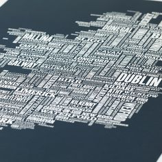 The Emerald Isle… no leprechauns or shamrocks, we promise. This unique piece of artwork uses text to map the country's cities, towns and villages - its pretty geographically accurate too. • Sizing: 50cm x 70cm (19.7 x 27.6 inches) • Colour Options: Sheer Slate • Want to add a FREE gift note to your purchase? Write your note in the 'Note to Buyer' section at the checkout. Framing and Sizing:  The print is 50cm x 70cm (19.7 x 27.6 inches) and fits into standard sized, off the shelf frames from…