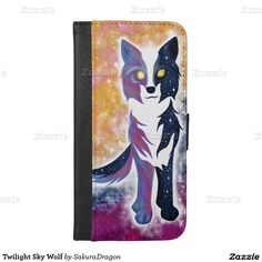 Twilight Sky Wolf iPhone 6/6s Plus Wallet Case #wolf #wolves #animals #stars #artsy