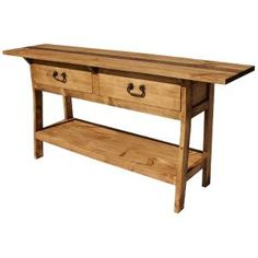 Hand made in Mexico, this long, narrow table fits well behind a sofa or in an entry hall.  Two deep and wide drawers provide lots of storage, and there is even a shelf at the base for display of home accessories. Simple legs and a large top make this affordable table a welcome addition to your home or office.  The rustic styling goes well with other decor.