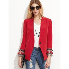 SheIn(sheinside) Red Collarless One Button Embroidered Cuff Blazer (59 BAM) ❤ liked on Polyvore featuring outerwear, jackets, blazers, red, collarless blazers, one button blazer, embroidery jackets, red jacket and embroidered blazer