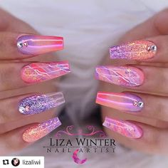 Colored Acrylic Nails, Bling Acrylic Nails, Acrylic Nails Coffin Short, Square Acrylic Nails, Summer Acrylic Nails, Best Acrylic Nails, Gel Nails, Acrylic Art, Purple Nail Designs