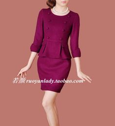 2015春装新款OL通勤简约假两件荷叶边羊毛呢修身显瘦长袖女连衣裙-淘宝网