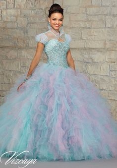 Quinceanera dresses by Vizcaya Jeweled Beaded Bodice on a Two-Tone Ruffled Tulle Skirt.  Matching Bolero. Available in Fairytale Pink, Fantasy Aqua