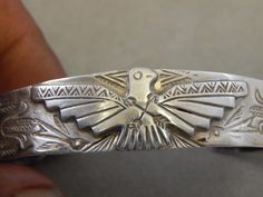 Antique Southwestern Fred Harvey Navajo Wide Sterling Thunderbird Cuff Bracelet
