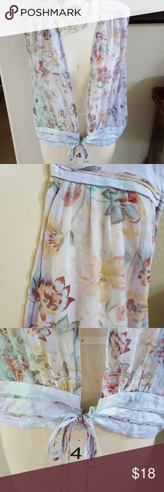Cielo Gossamer Floral Print Tie Vest Beautiful sheer floral with 100% silk trim.  Gorgeous with a tank & jeans or over a form fitting dress.  NWT.  Size Medium. Cielo Tops Blouses