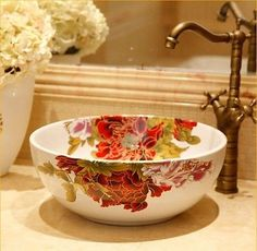 Hand Made Ceramic Bowl Shape Bathroom Arts Sink Basin White Peony Vanities