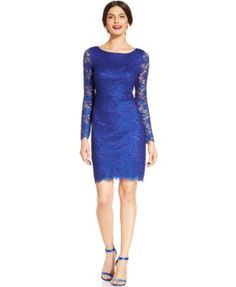 Jessica Howard Petite Illusion-Sleeve Metallic Lace Sheath   macys.com