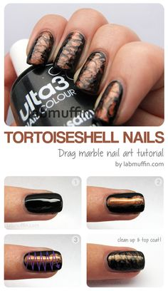 More Nail Polish: Guest Blogger - Michelle Lab Muffin Tortoiseshell drag marbling toothpick nail art