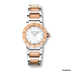 Bulgari Damenuhr - Quarz BBL26WSPG/12 $8,737 #watch #chronograph #watches Bulgari ladies watch Bvlgari-Bvlgari automatic watch in the Version BBL26WSPG/12 of stainless steel with 18-karat rose gold.