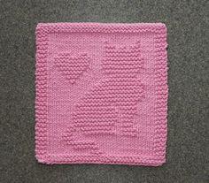 CAT & HEART Knit Dishcloth / Wash Cloth. 100% door AuntSusansCloset