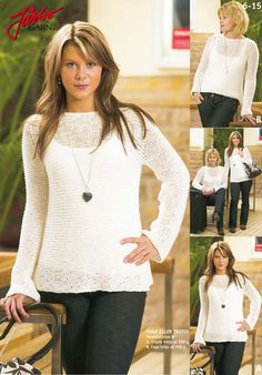 Wonderful easy-to-knit sweater. Sweater Cardigan, Jumper, Tights, Tunic Tops, Knitting, Blouse, Sweaters, Inspiration, Women