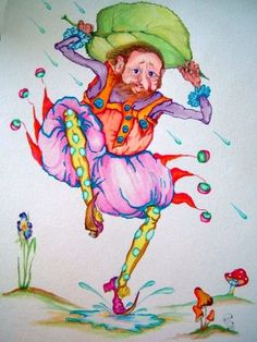 """Spring's Elf"" original watercolor illustration from artist Marina Sciascia (USA)"