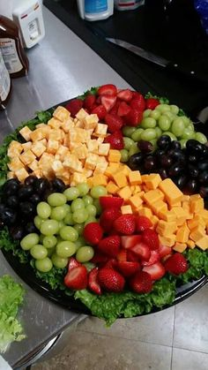 Fruit tray Party Trays, Party Platters, Fruit Salad, Appetizers, Wedding Ideas, Food, Snacks, Meal, Appetizer