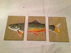 Brook trout painting, oil on wood, fish painting