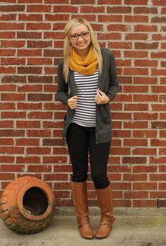 Ol I'd mustard stripes black pants boots