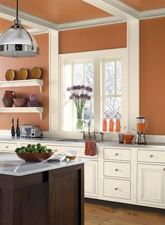 Orange Kitchen paint color scheme from Benjamin Moore. Kitchen Design, Kitchen Wall, Kitchen Wall Colors, Orange Kitchen Walls, Kitchen Space, Home Decor, Tuscan Paint Colors, Paint For Kitchen Walls, Kitchen Color