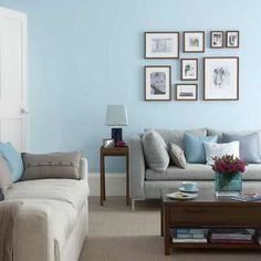 Light blue walls in the livingroom freshen up living room. white blue living room decorating ideas paint and cushions furniture carpet light decor Living Room Color Schemes, Paint Colors For Living Room, Living Room Designs, Colour Schemes, Color Trends, Brown And Blue Living Room, Living Room Grey, Living Area, Living Room Turquoise