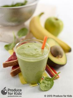 Super Green Smoothie- Green smoothies have been all the rage in recent years, and with good cause – they're a great way to sneak in extra nutrients from healthy greens such as spinach. In this recipe, kids won't be able to taste the spinach, but will be getting an extra boost of healthy. #eggfree #vegetarian #smoothie #recipe #produceforkids #healthy