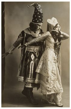 Adolph Bolm and Tamara Karsavina in costume for the ballet Thamar, photograph by Waléry, 1912, V&A Theatre & Performance Collections
