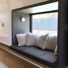 Bay window seating, modern window seat, window seat kitchen, window b Timber Windows, Modern Windows, Bay Windows, Modern Window Seat, Window Seats, Window Benches, Bay Window Seating, Container House Design, Bedroom Windows